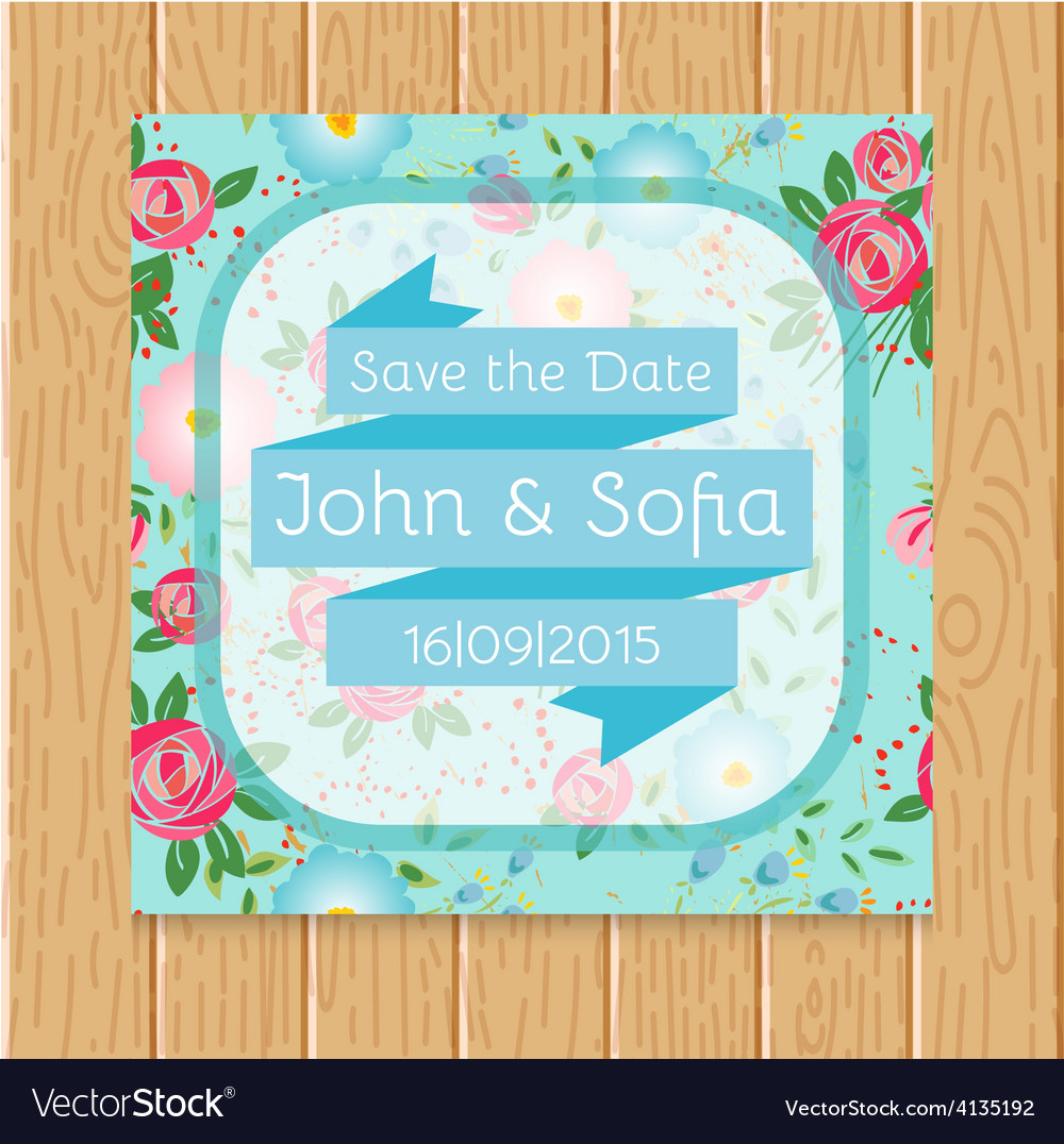 Vintage floral wedding invitation square shape vector | Price: 1 Credit (USD $1)