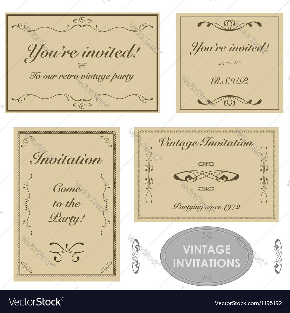 Vintage invitation templates vector | Price: 1 Credit (USD $1)