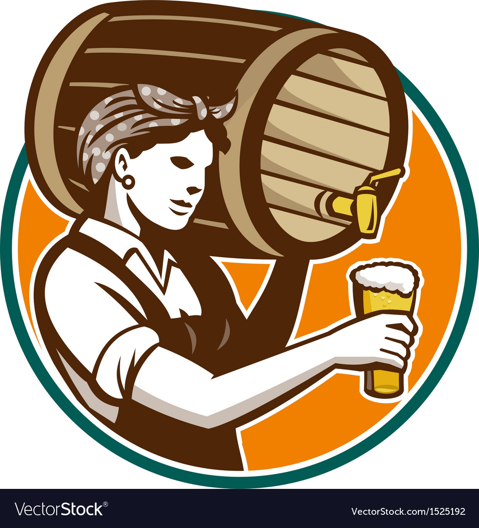 Woman bartender pouring keg barrel beer retro vector | Price: 1 Credit (USD $1)