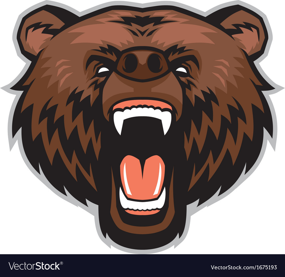 Angry brown bear head vector | Price: 1 Credit (USD $1)