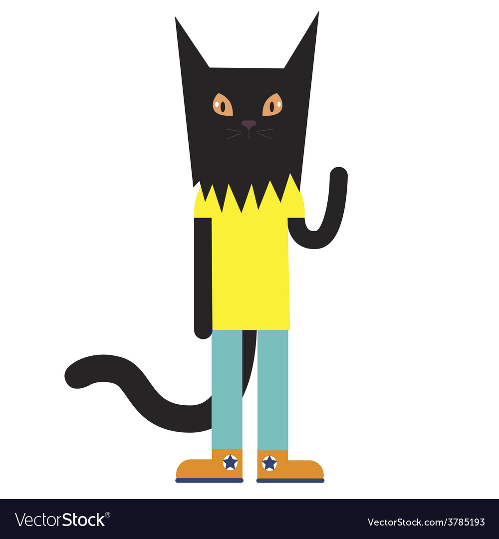 Black cat character vector | Price: 1 Credit (USD $1)