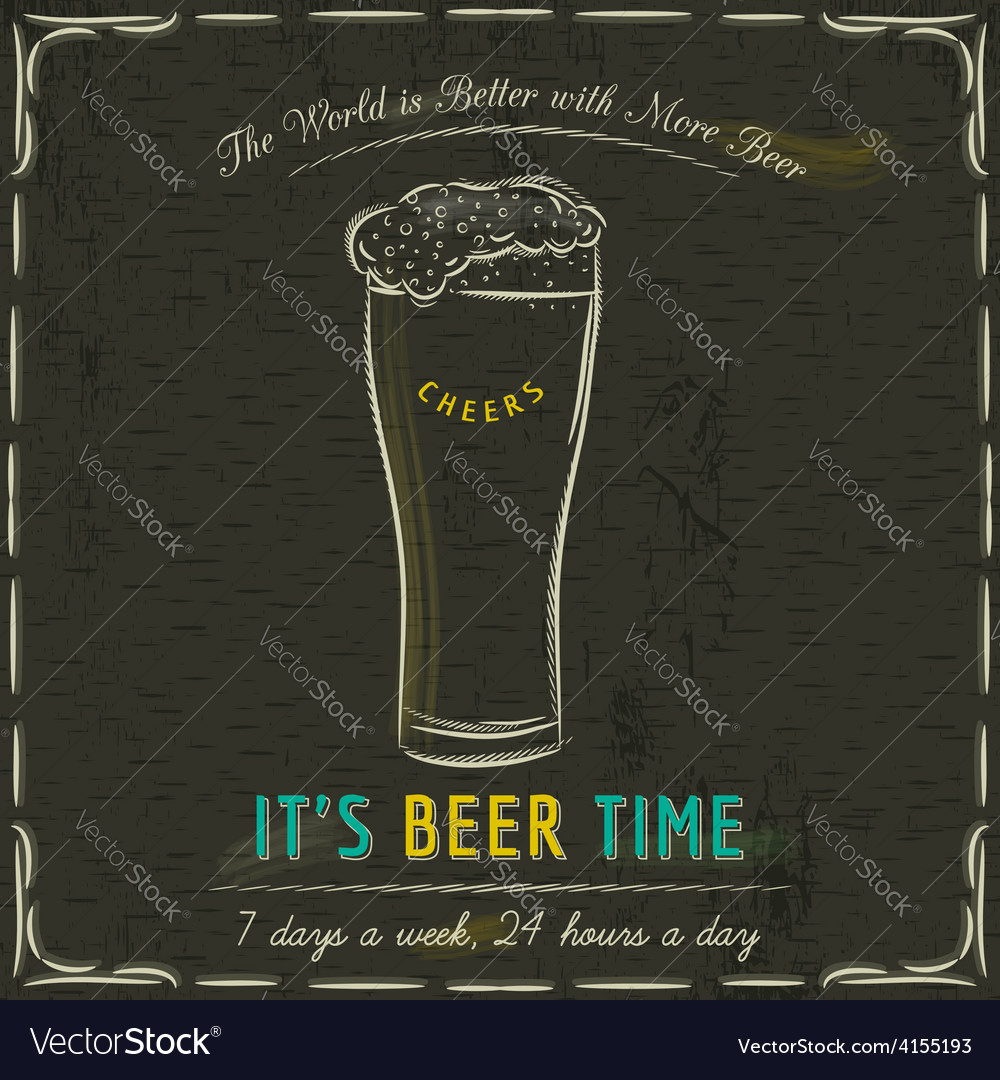 Brown blackboard with mugs of beer vector | Price: 1 Credit (USD $1)