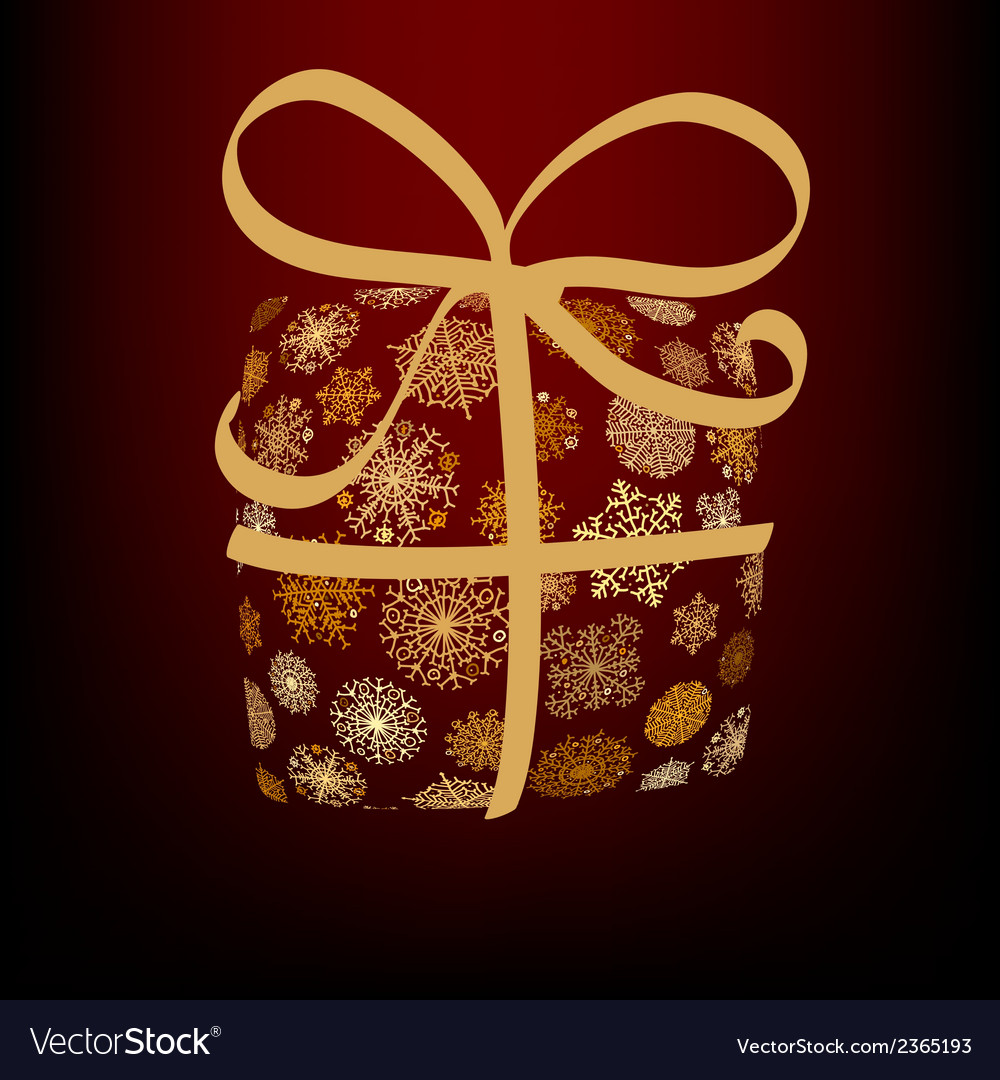 Christmas box made from golden snowflakes  eps8 vector | Price: 1 Credit (USD $1)