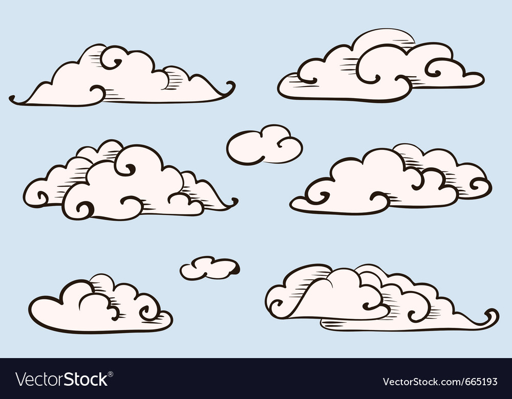 Clouds set vintage stylized drawing vector | Price: 1 Credit (USD $1)