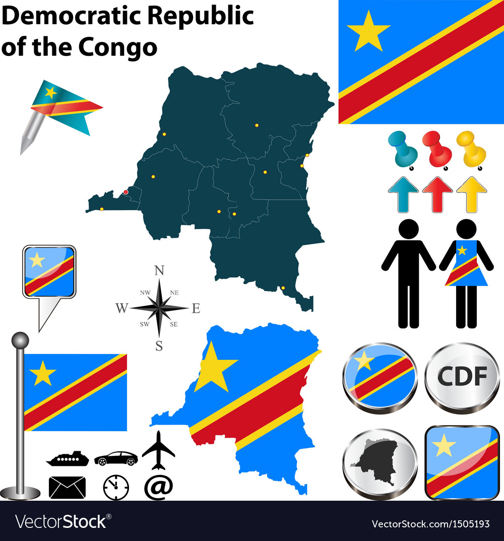 Democratic republic of the congo map vector | Price: 1 Credit (USD $1)