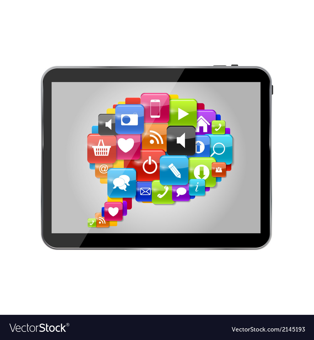Glass button icon set speech bubble on tablet pc vector | Price: 1 Credit (USD $1)