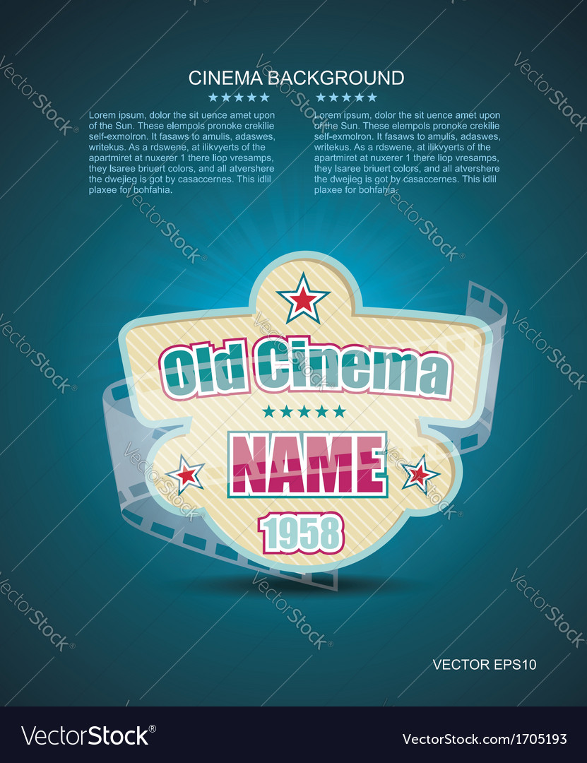 Old cinema banner with stripe roll cinema vector | Price: 1 Credit (USD $1)