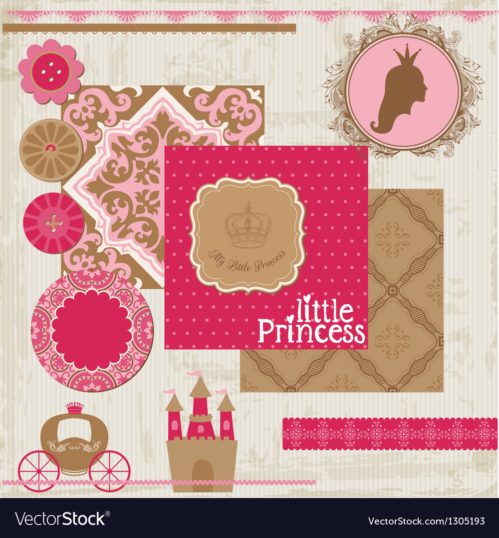 Princess girl birthday set vector | Price: 1 Credit (USD $1)