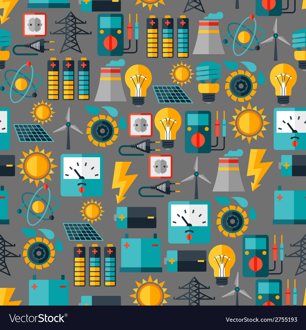 Seamless pattern with power icons in flat design vector | Price: 1 Credit (USD $1)