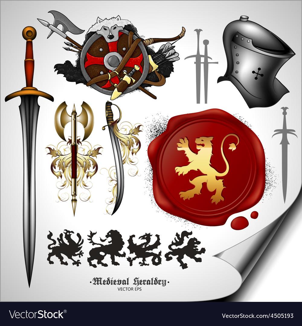 Set of heraldic elements vector | Price: 3 Credit (USD $3)