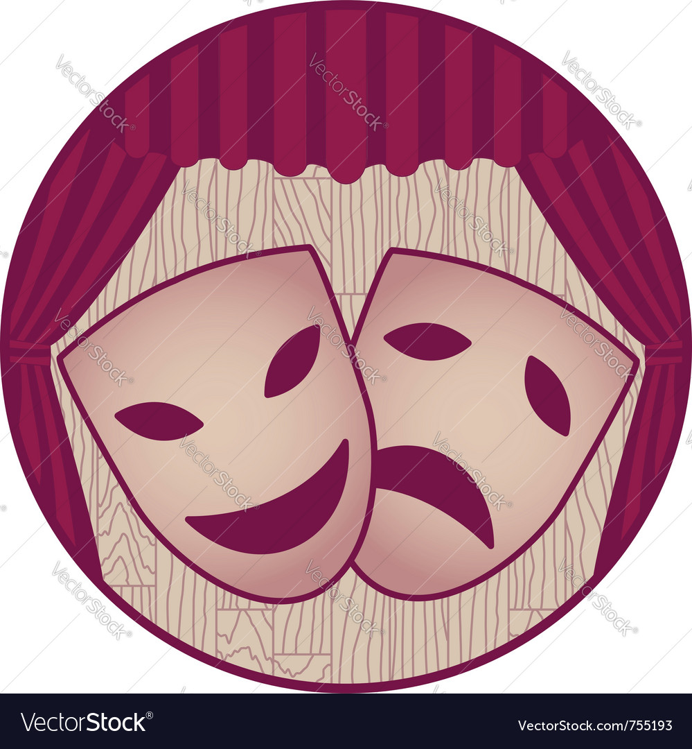 Theater- two tragicomic masks and red curtain vector | Price: 1 Credit (USD $1)