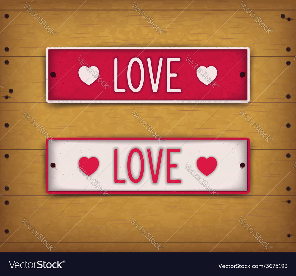 Two car plates - love vector | Price: 1 Credit (USD $1)