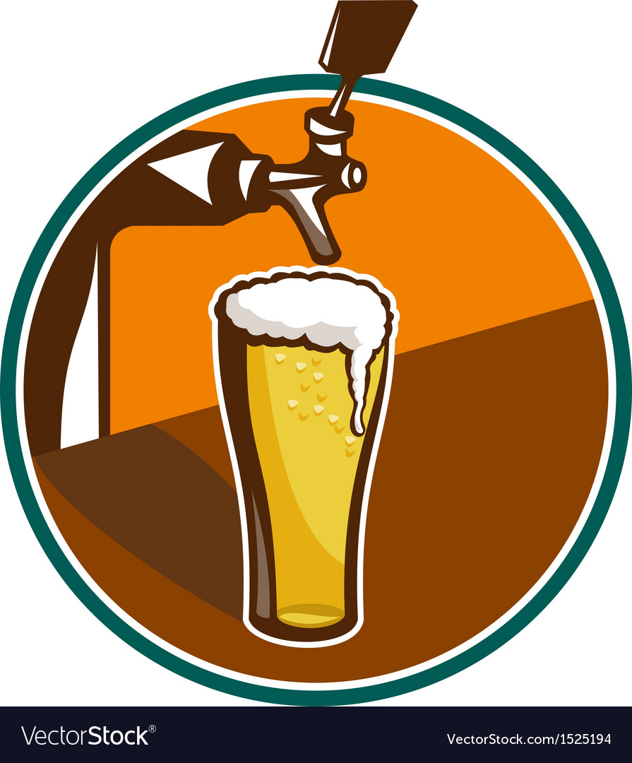 Beer pint glass tap retro vector | Price: 1 Credit (USD $1)