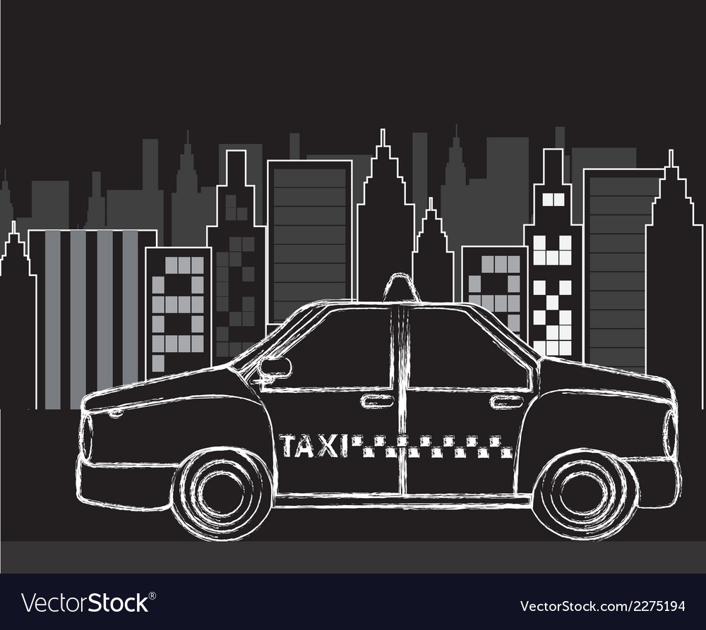 Black and white city with grunge taxi vector | Price: 1 Credit (USD $1)