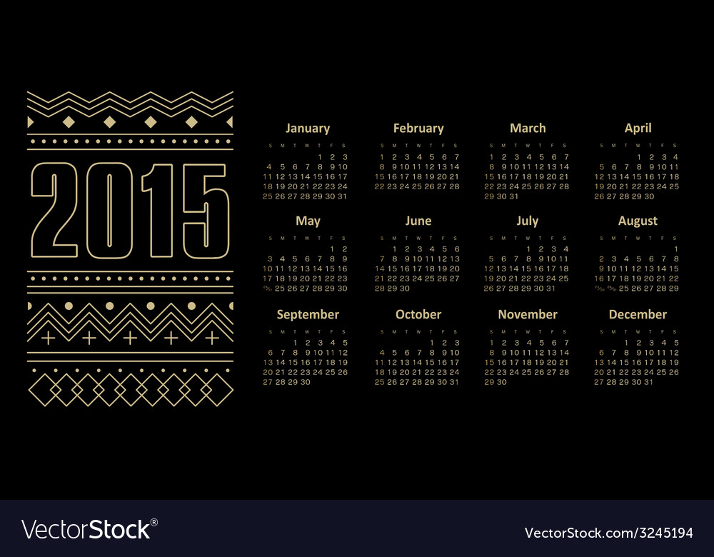 Calendar 2015 year with ornament vector | Price: 1 Credit (USD $1)