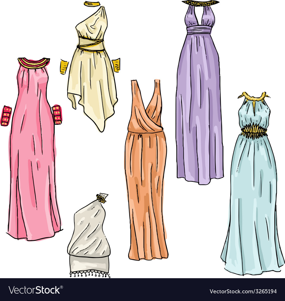 Hand drawn beautiful greek dresses vector | Price: 1 Credit (USD $1)