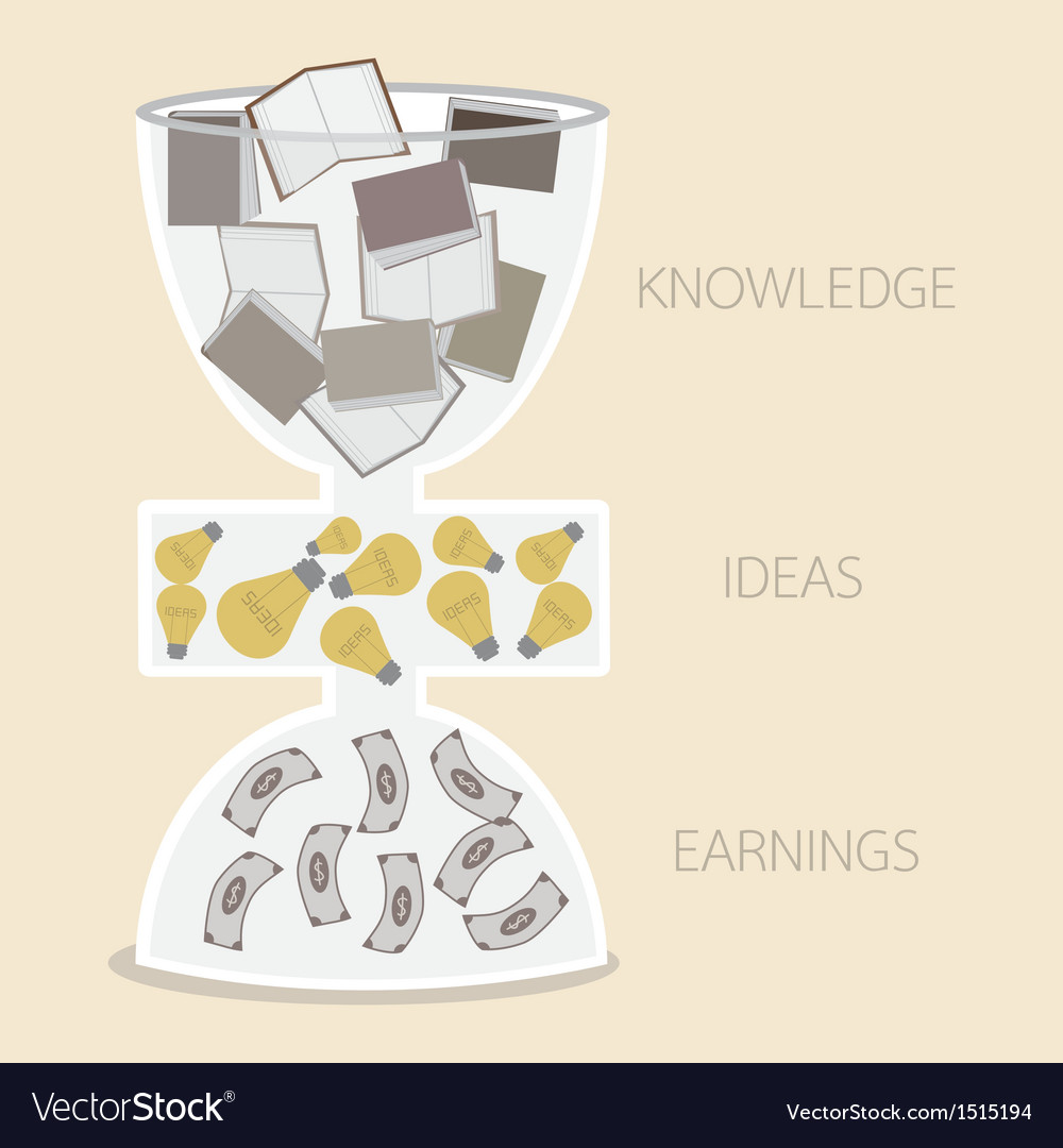Knowledge idea earning in hourglass vector | Price: 1 Credit (USD $1)