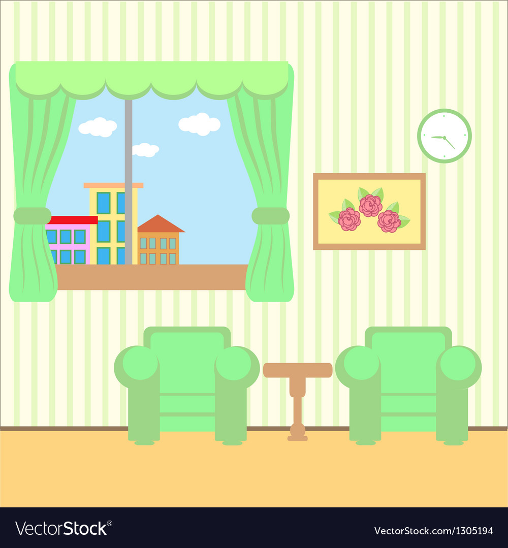 Nice room with a window vector | Price: 1 Credit (USD $1)