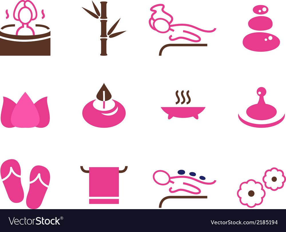 Set of female spa icons isolated on white vector | Price: 1 Credit (USD $1)