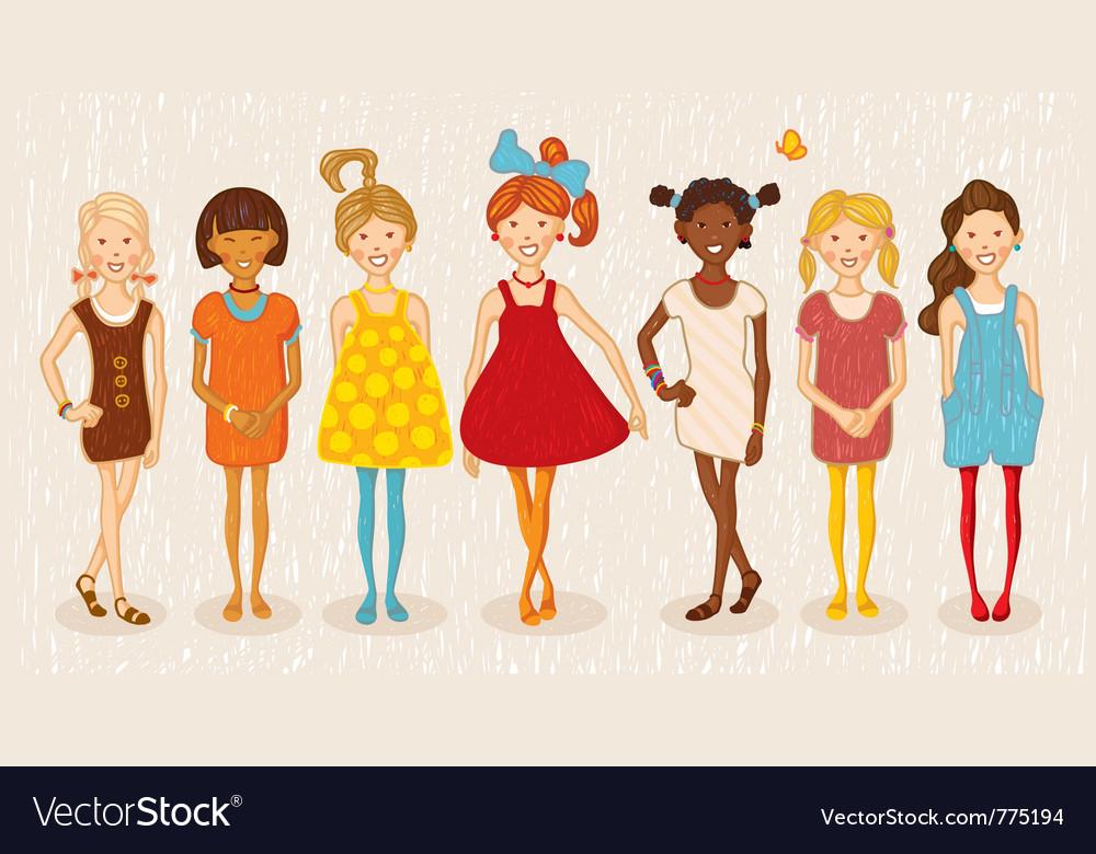 Seven girls set vector | Price: 3 Credit (USD $3)