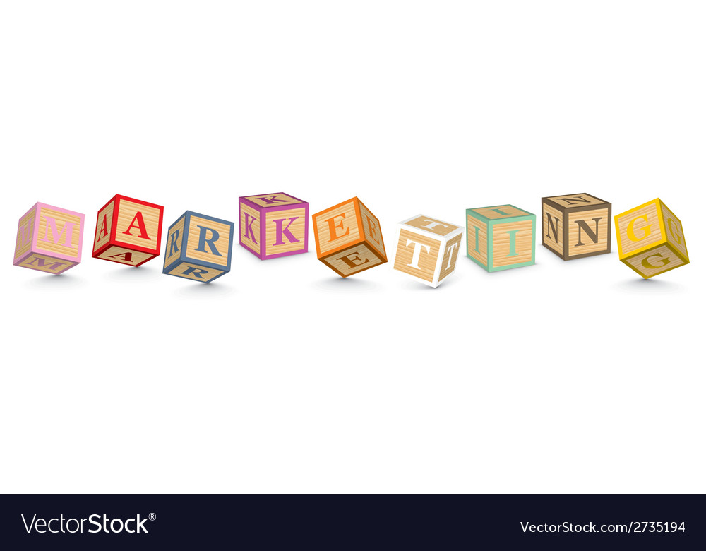 Word marketing written with alphabet blocks vector | Price: 1 Credit (USD $1)