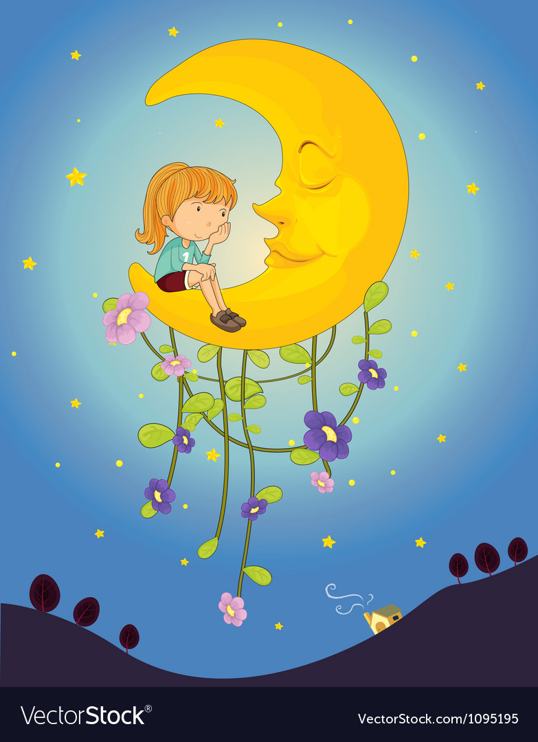 A girl and a moon vector | Price: 1 Credit (USD $1)