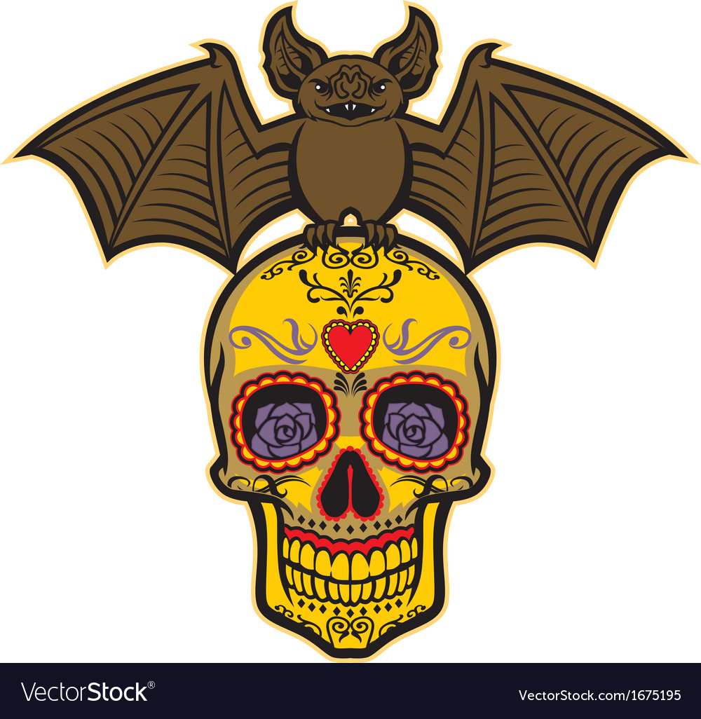 Bat stand over the sugar skull vector | Price: 1 Credit (USD $1)