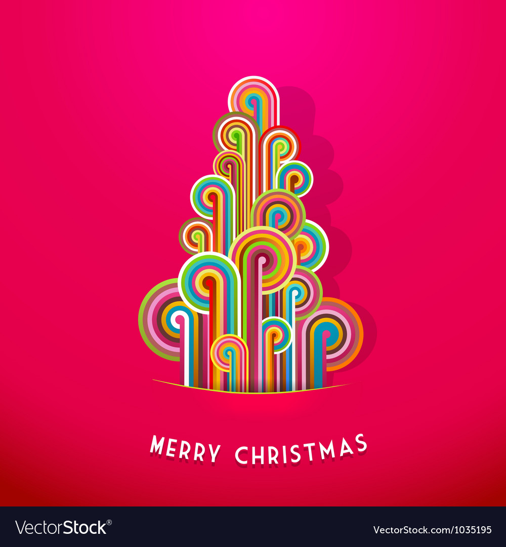 Christmas tree made from curled colorful lines vector | Price: 1 Credit (USD $1)