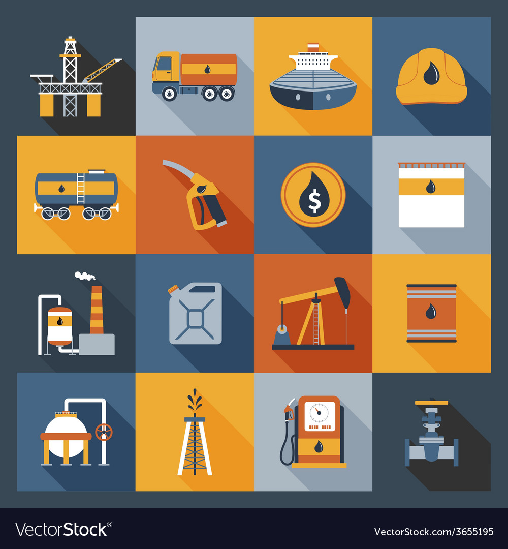 Oil industry icons flat vector | Price: 1 Credit (USD $1)