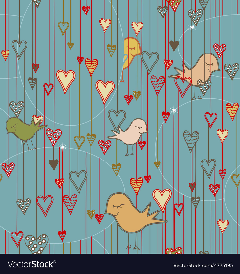 Seamless valentine background with birds and vector | Price: 1 Credit (USD $1)