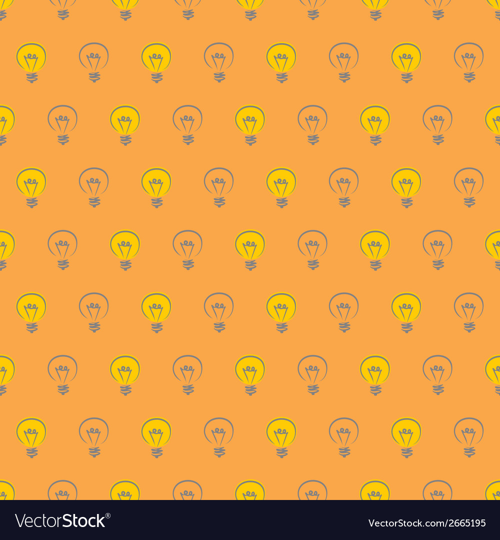 Tile pattern with light bulbs on orange background vector | Price: 1 Credit (USD $1)