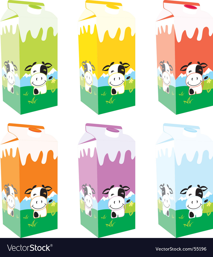 Carton milk boxes vector | Price: 3 Credit (USD $3)