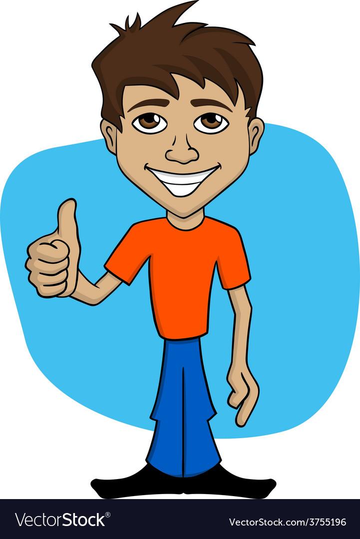 Cartoon of happy man giving thumb up vector | Price: 1 Credit (USD $1)