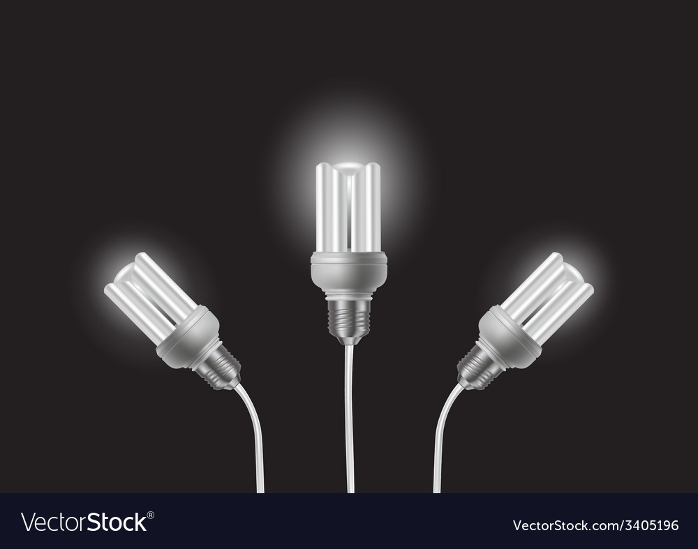 Energy saving bulbs with cords vector | Price: 1 Credit (USD $1)