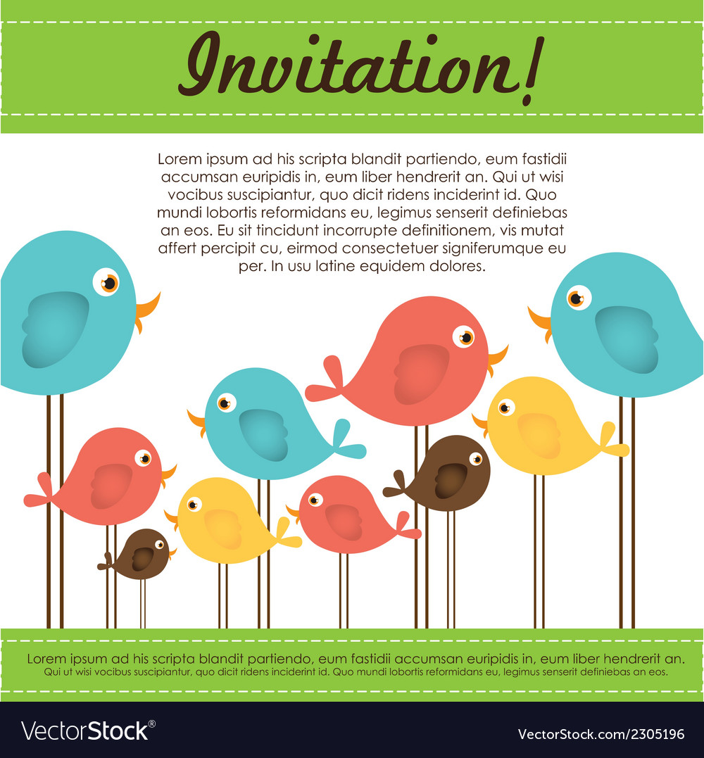 Invitation card with colorful birds vector | Price: 1 Credit (USD $1)