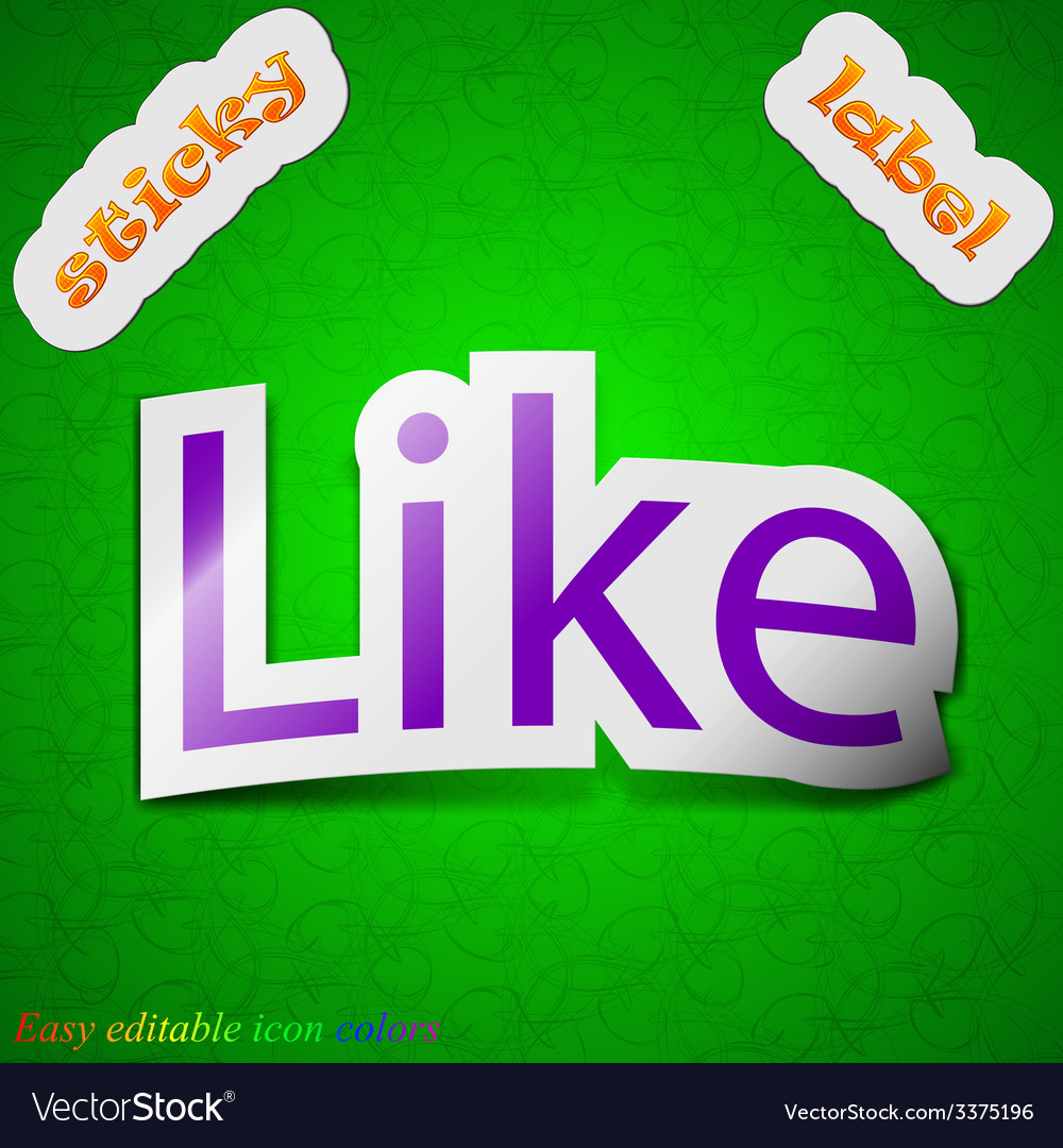Like icon sign symbol chic colored sticky label on vector | Price: 1 Credit (USD $1)