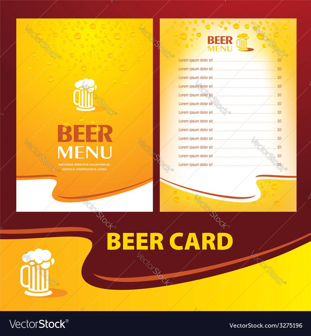 Menu beer card vector | Price: 1 Credit (USD $1)