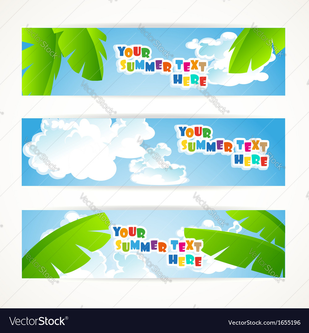 Sunny summer banner vector | Price: 1 Credit (USD $1)