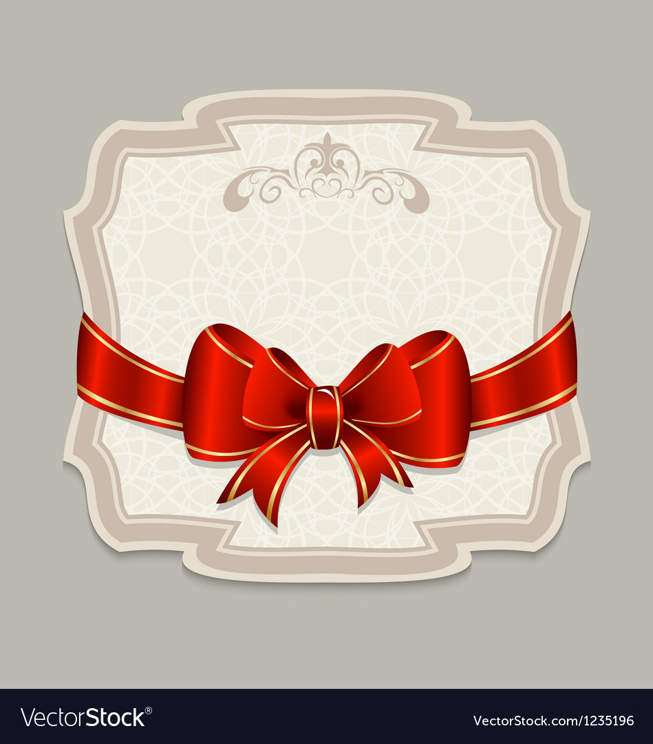 Vintage label with a red bow for design packing vector | Price: 1 Credit (USD $1)