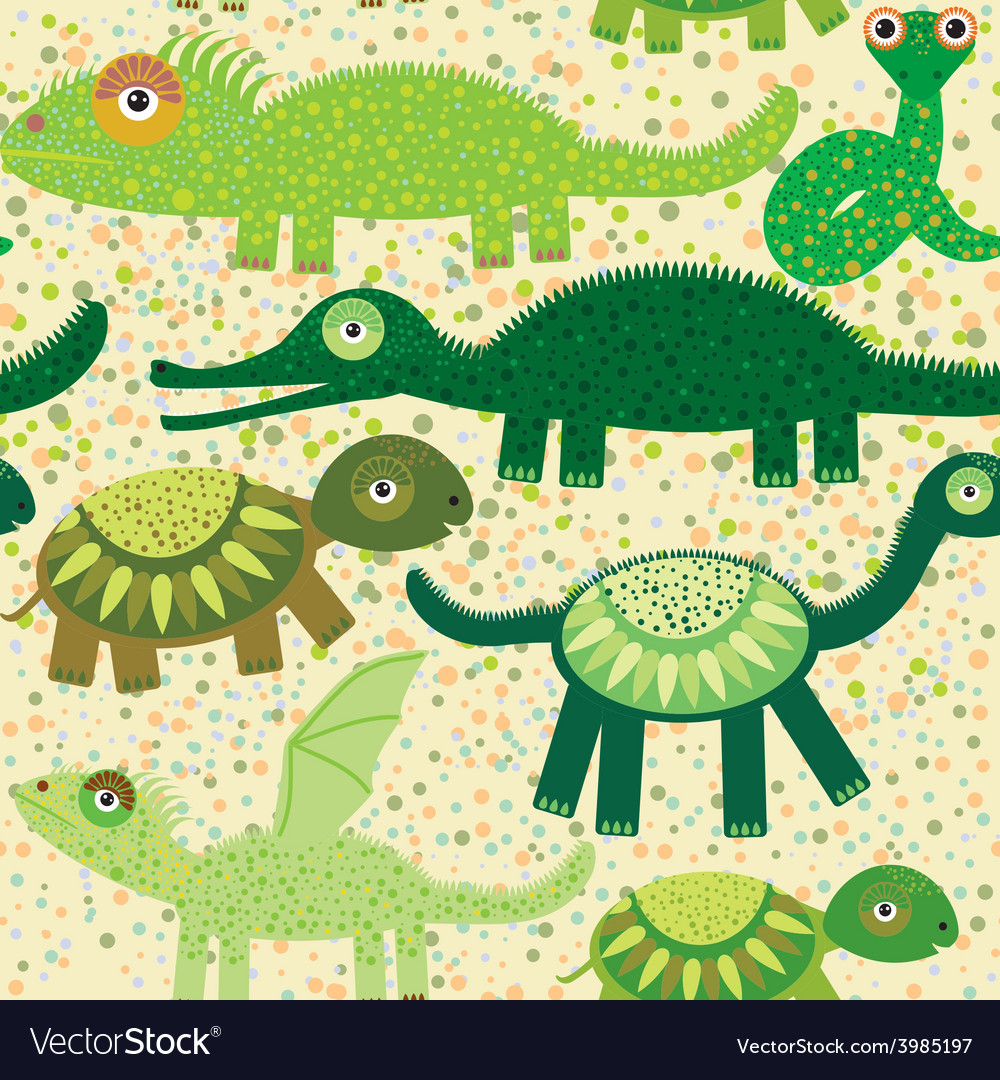 Cheerful seamless pattern with crocodile turtle vector | Price: 1 Credit (USD $1)
