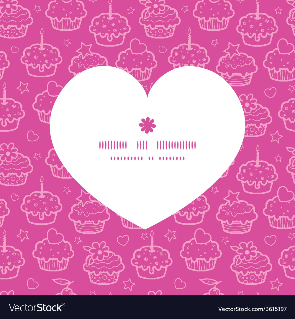 Colorful cupcake party heart silhouette pattern vector | Price: 1 Credit (USD $1)