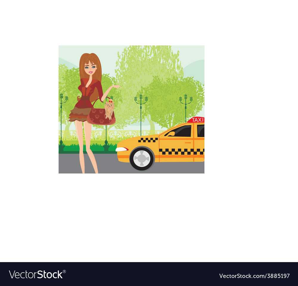 Elegant woman waiting for a taxi vector | Price: 1 Credit (USD $1)