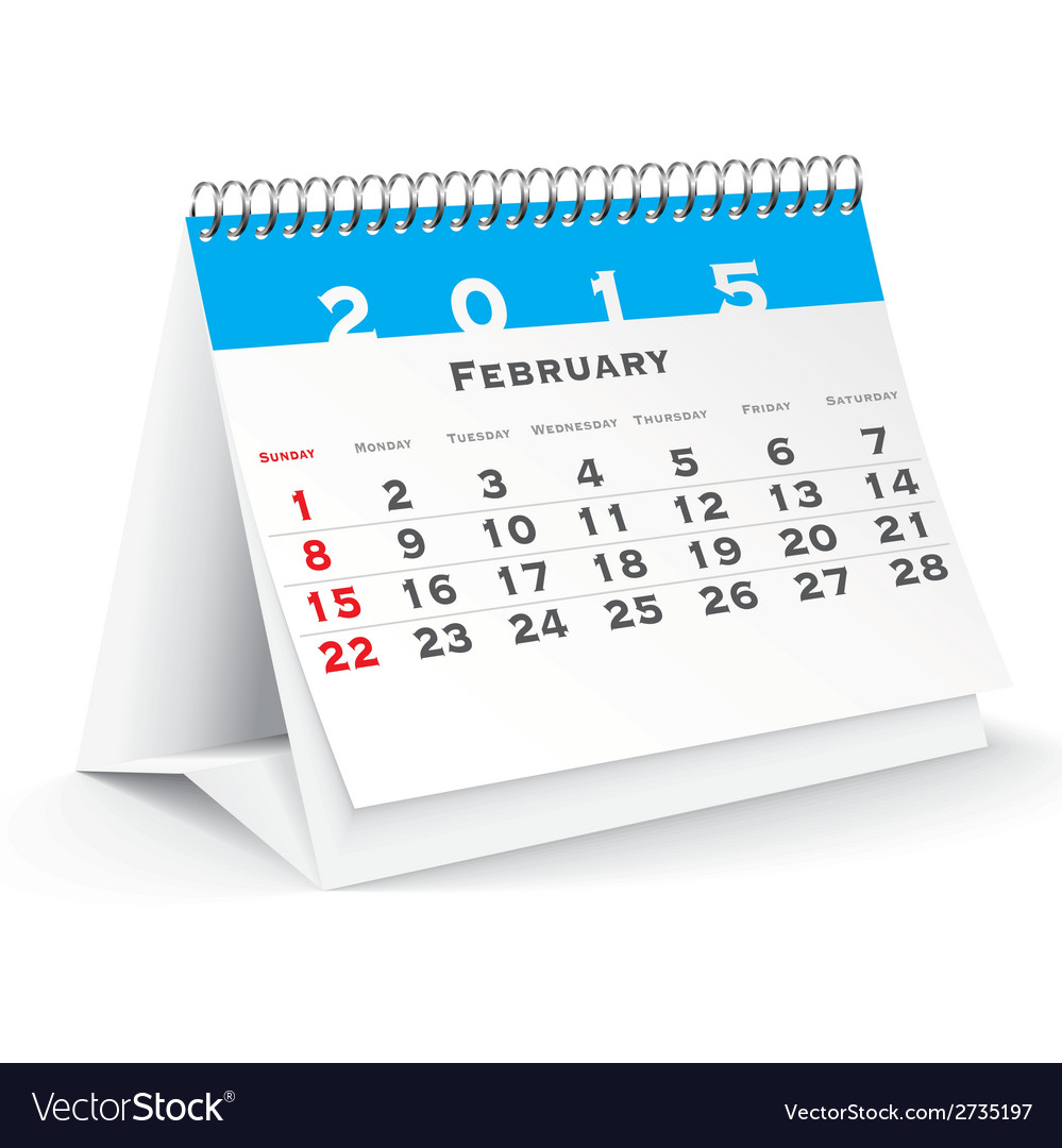 February 2015 desk calendar - vector | Price: 1 Credit (USD $1)
