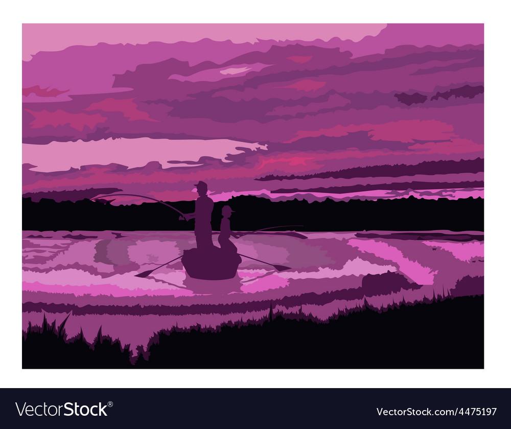 Men fishing cartoon vector | Price: 1 Credit (USD $1)