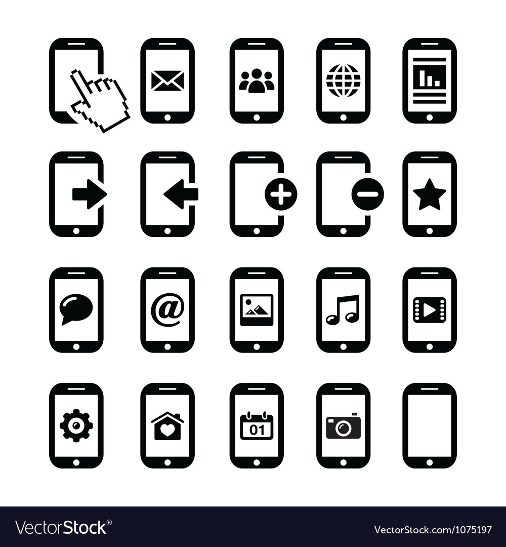 Mobile or cell phone smartphone contact icons vector | Price: 1 Credit (USD $1)