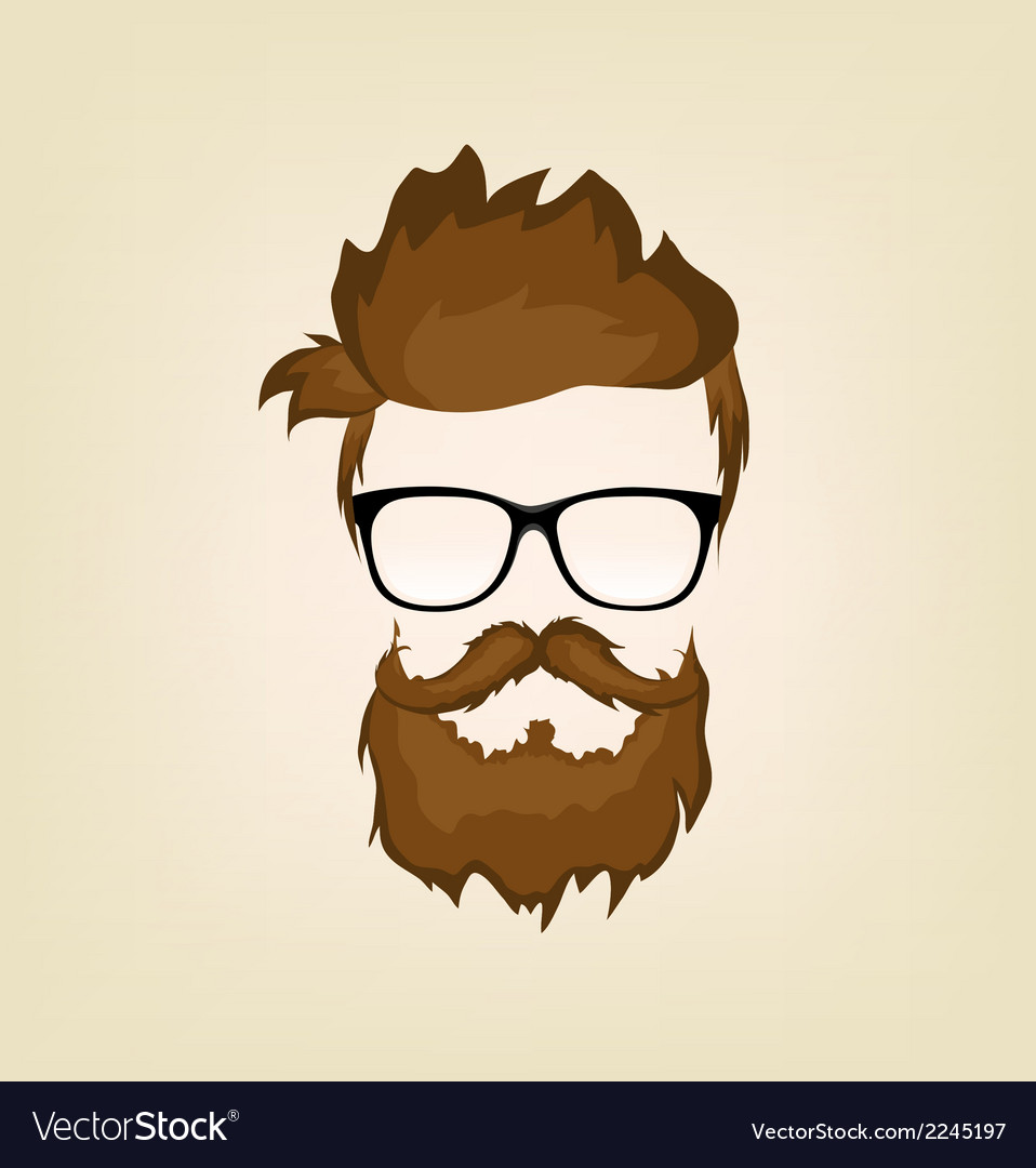 Mustache beard glasses hairstyle vector | Price: 1 Credit (USD $1)