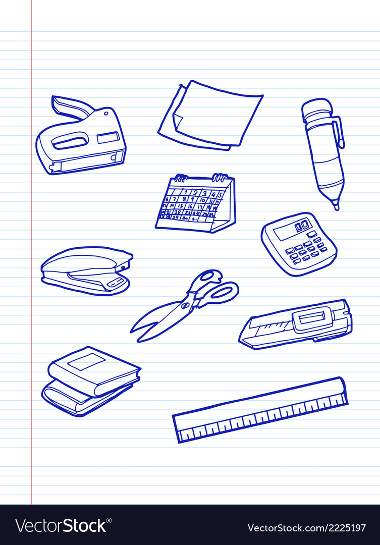 Office stationery icons vector | Price: 1 Credit (USD $1)