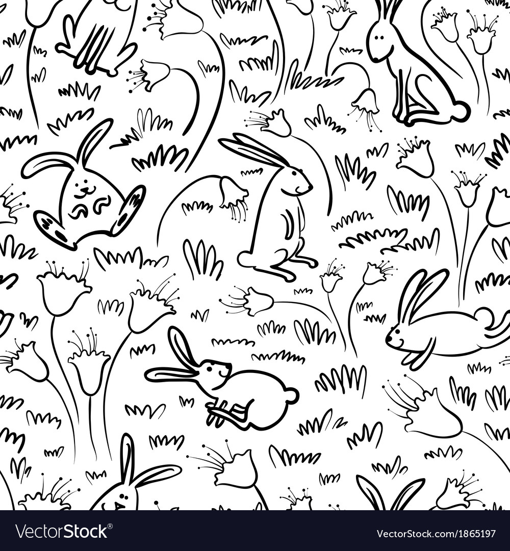 Pattern with rabbits vector | Price: 1 Credit (USD $1)