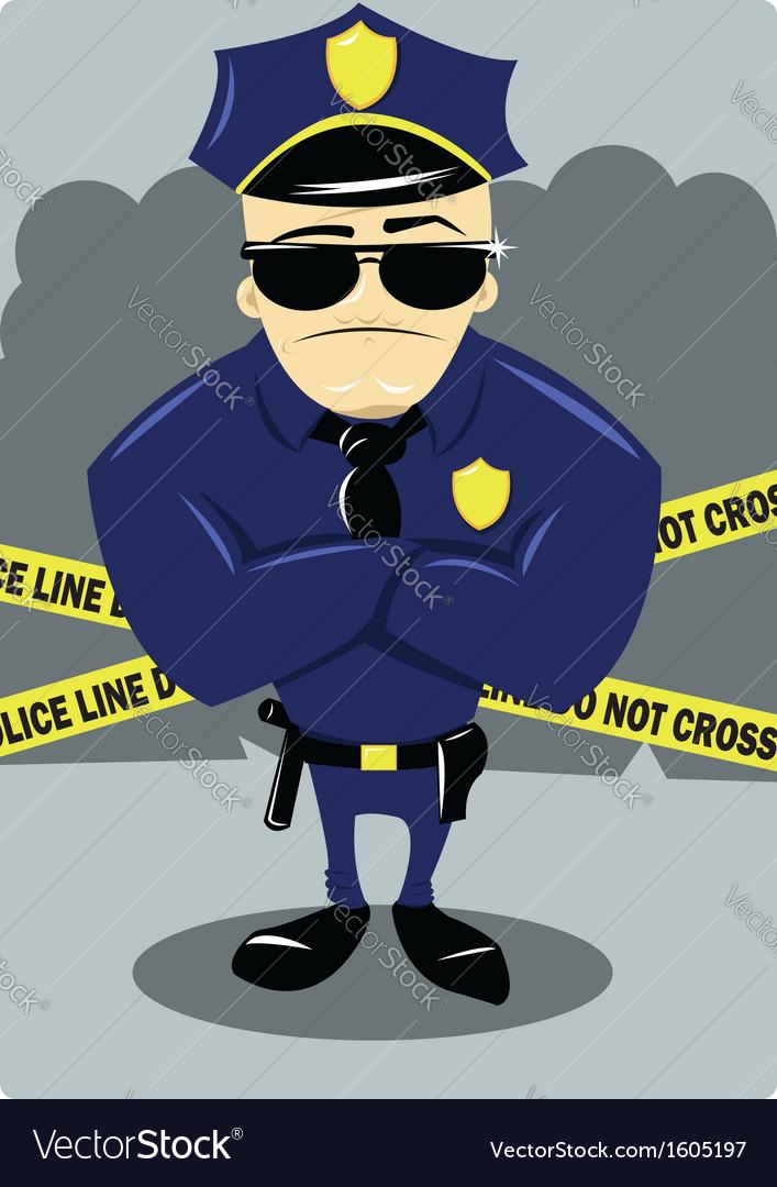 Policeman and crime scene vector | Price: 1 Credit (USD $1)