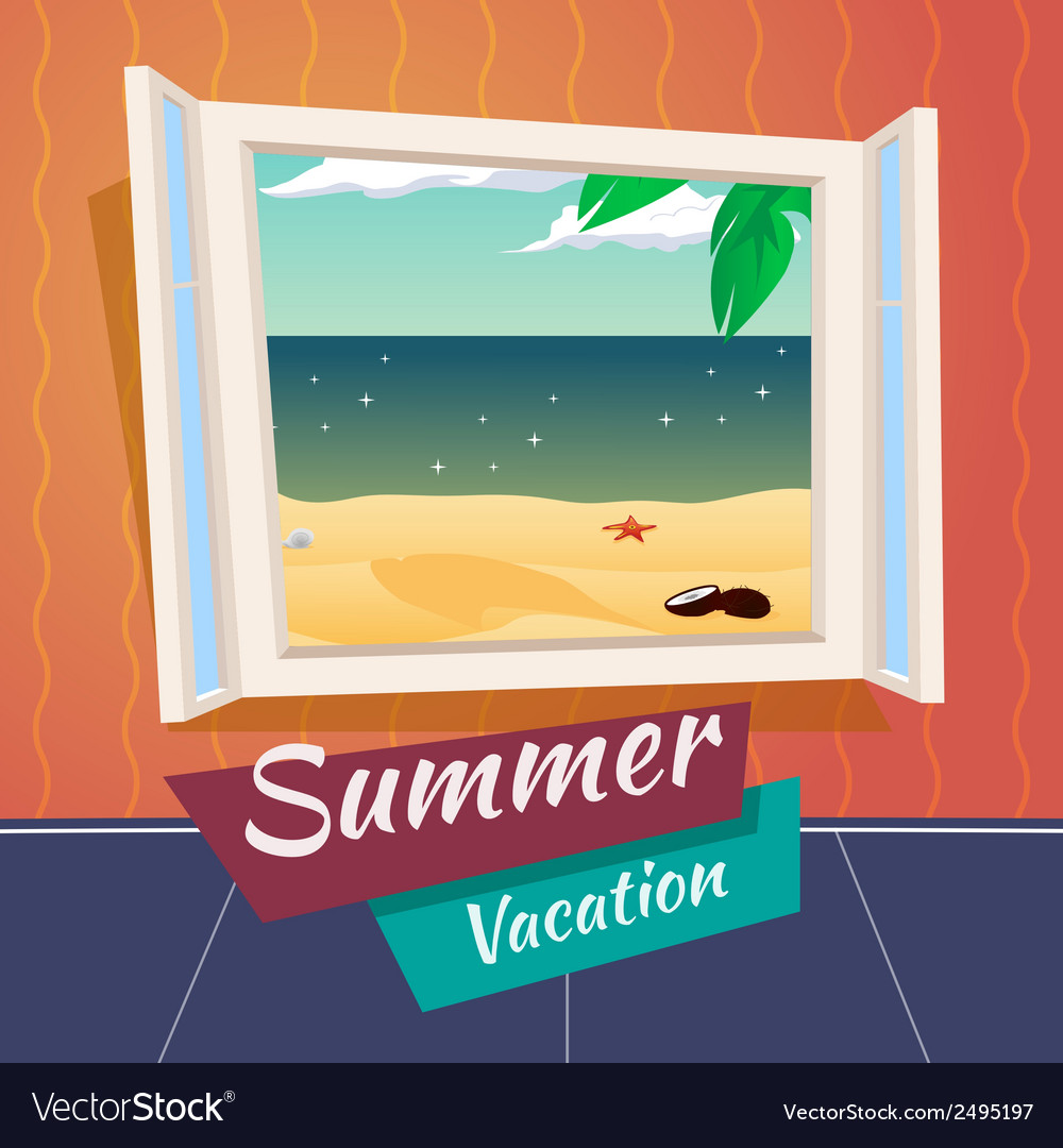 Summer holiday vacation cartoon open window sea vector | Price: 1 Credit (USD $1)